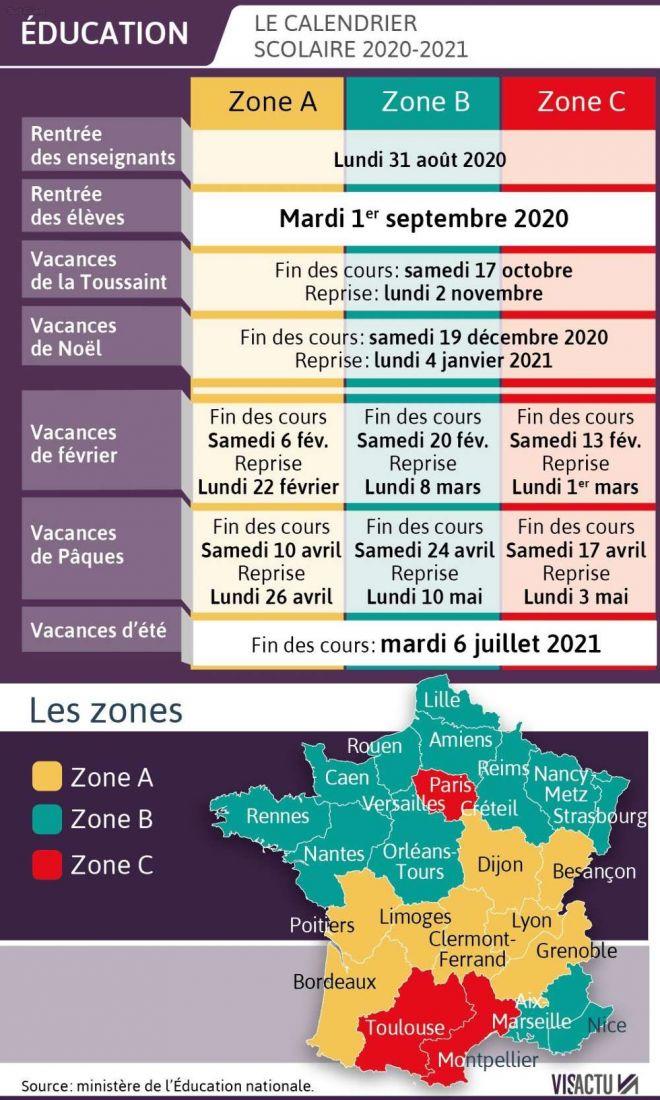 Calendrier officiel des vacances scolaires 2020 2021   Conseil